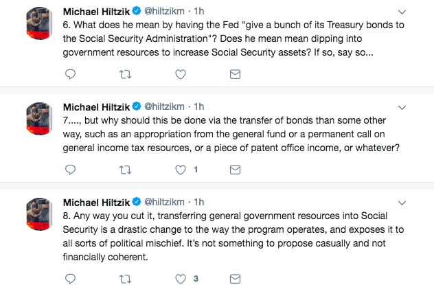 Michael Hiltzik's Strange Critique of My Social Security Idea